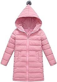 SLUBY Girls Long Down Jacket Winter Hooded Slim Puffer Coat with Zipper 3T-12Y