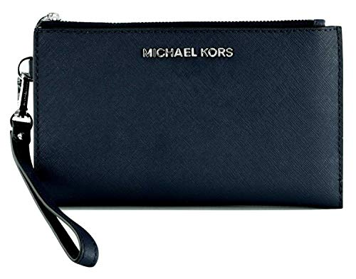 Michael Kors Jet Set Travel Double Zip Saffiano Leather Wristlet Wallet 2019 New Color (Navy), Medium