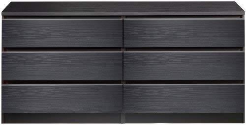 Tvilum Scottsdale 6 Drawer Double Dresser in Black Woodgrain - Dressers Furniture Modern
