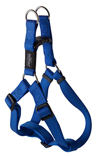 Reflective Adjustable Dog Step in Harness for Large Dogs; matching collar and leash available, Blue