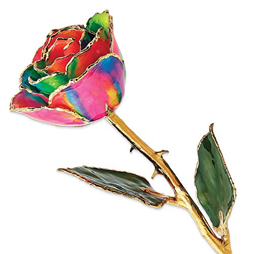 Venture Collections Aurora Neon Rainbow Lacquer Dipped 24K Gold Trimmed Genuine Rose w/Green Leaves Stem in Gift Box