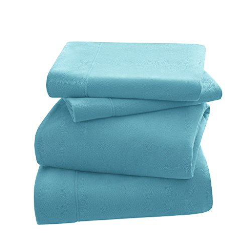 P2N Peak Performance Nutrition Micro Fleece Twin Bed Sheets Set, Casual Ultra Soft Bed Sheets Twin, 3-Piece Include Flat Sheet, Fitted Sheet & 1 Pillowcase, Aqua (Fabric Twin Peaks)