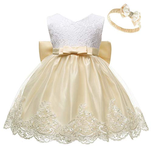 Prinsessenjurk voor babymeisjes, bloemenmeisjesjurk, doopjurk, bruiloft, feestjurk, babykleding met strik en hoofdband