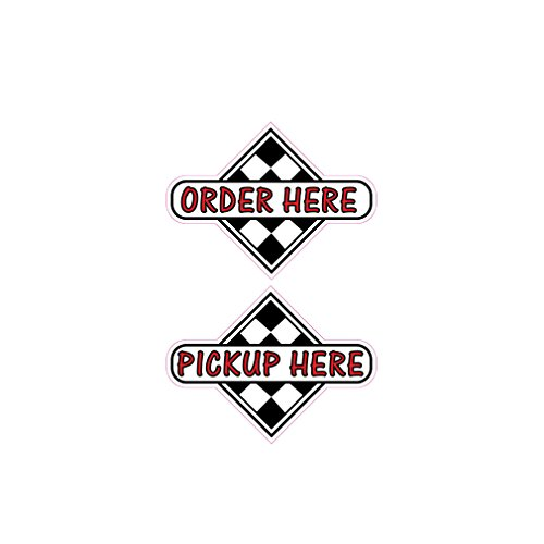 Order Here Pick Up Here Concession Restaurant Food Truck Die-Cut Vinyl Sticker 14 inches