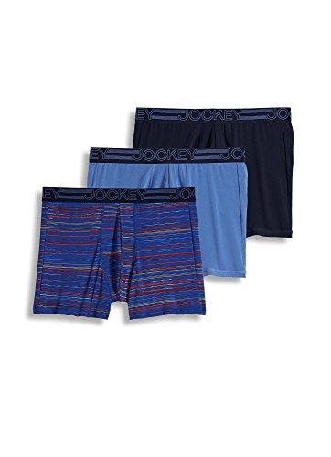 Jockey Men's Underwear Active Microfiber Boxer Brief - 3 Pack, True Navy/Sapphire Digi Stripe/Prism Blue, S