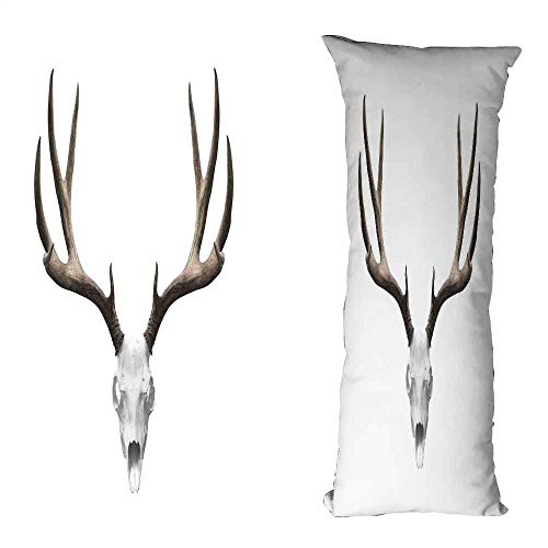 duommhome Antlers Decor Personalized Pillowcase A Deer Skull Skeleton Head Bone Halloween Weathered Hunter Collection Suitable for Hair and Skin Health W19.6X L63 inch ()