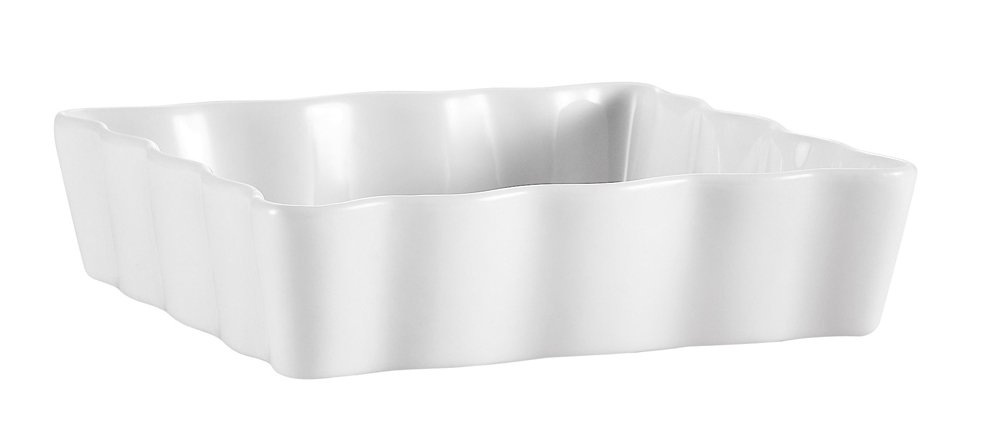 CAC China QCD-SQ6 Porcelain Square Fluted Quiche Baking Dish, 6-Inch, Super White, Box of 36