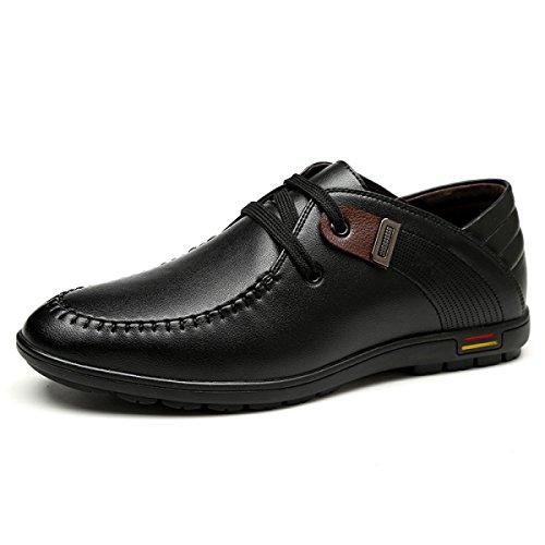 GRRONG En Chaussures Véritable Cuir Loisir Respirants Black Cuir Homme Pour En 1AqFr1