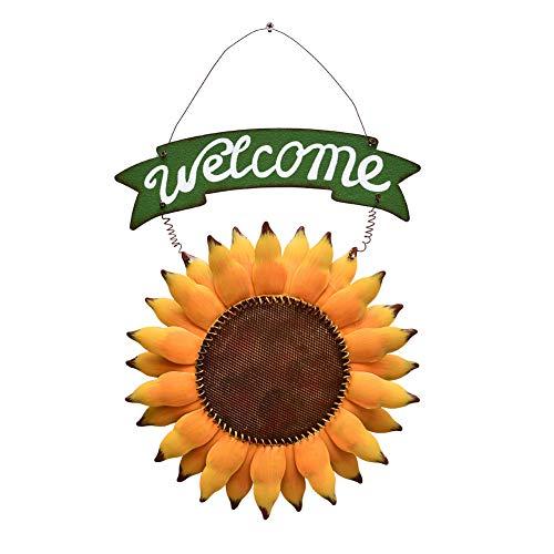 Attraction Design Vintage Sunflower Decor Welcome Sign for Front Door, Garden Themed Welcome Door Sign Hanging Metal Welcome Wall Plaque Home Garden Decor (Sunflower Welcome Sign-E) from Attraction Design