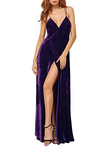 Sexy Neck V Dress Backless Party Purple Cocktai Verdusa Women's Wrap Velvet 5qwtt7Bn