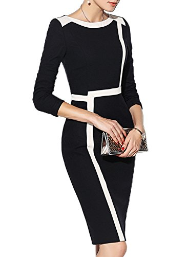 WOOSEA Women's 2/3 Sleeve Colorblock Slim Bodycon Wear to Work Pencil Dress (Black+White, Large)