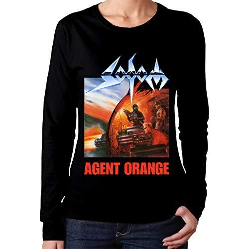 PaulineD Women's Sodom Agent Orange Long Sleeve T-Shirts Black S -
