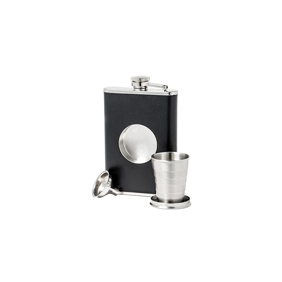 New Scale 8oz Black PU Leather flask with Telescopic Cup Insert in Black Gift Box Set Premium with Funnel and 2 Cups Stainless Steel and 100% Leak Proof for Discrete Liquor Shot Drinking