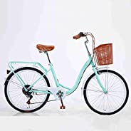 HIRUNS 24/26 Inch Shimano 7- Speed Women's Cruiser Bike, Classic High-Carbon Steel Commuter Bic