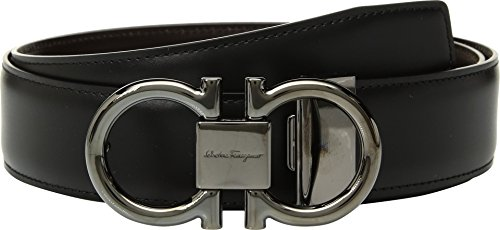 Salvatore Ferragamo Men's Double Gancio Reversible Belt, Nero/Hickory, 38