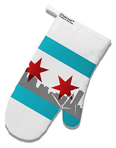 TooLoud Chicago Flag Skyline AOP White Printed Fabric Oven Mitt All Over Print