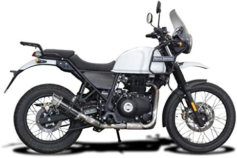 Delkevic Full 1-1 compatible with Royal Enfield Himalayan DL10 14 Carbon Fiber Round Muffler Exhaust 2017-2020