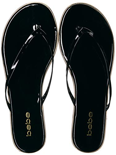 bebe Women's ILISTRA-W Flat Sandal, Black Patent, 7.5 Medium US