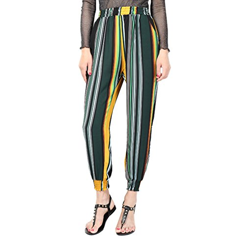 YuanDian Mujer Casual Tamaño Grande Gasa Impresión Cintura Elástica Harem Pantalones Talle Alto Ancho Nueve Puntos Pantalon Azul Verde Raya