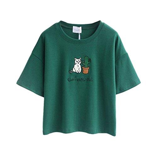 Womens-T-shirt-CAT-AND-ME-Print-Cotton-Loose-Cute-Vest-Kawaii-Crop-Top