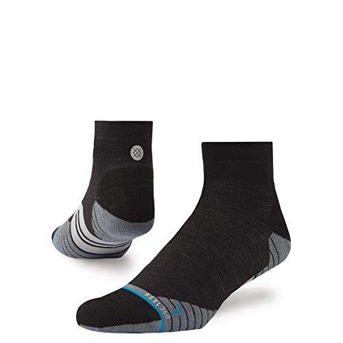 (STANCE Men's Run Uncommon Solid Quarter Socks, Charcoal, Grey, Stripe, Large)