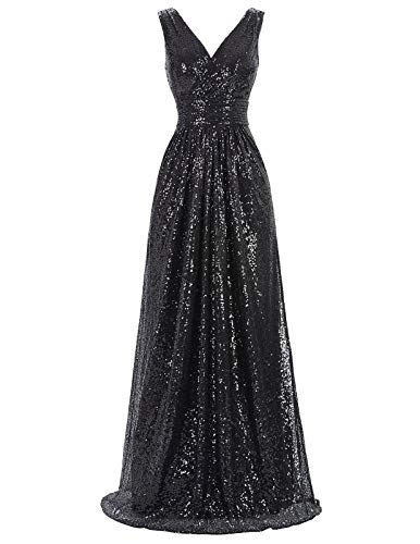 Kate Kasin Black Sexy V-Neck Sequins Evening Dress Long Prom Bridesmaid Dress Size US6 KK199-4 (Long Gown Dress)