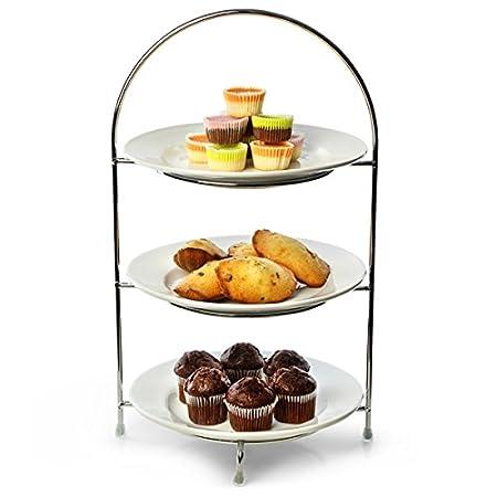 Utopia Chrome 3 Tier Cake Plate Stand 16.5inch / 42cm with 23cm Plates | Cupcake  sc 1 st  Amazon UK & Utopia Chrome 3 Tier Cake Plate Stand 16.5inch / 42cm with 23cm ...