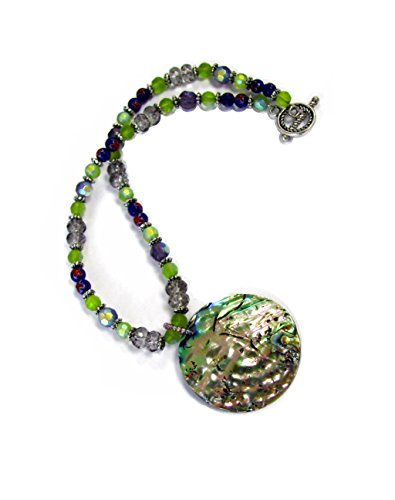 Linpeng glass beads shell pendant necklace / Hand made Glass Beads Toggle Necklace for women / Length16