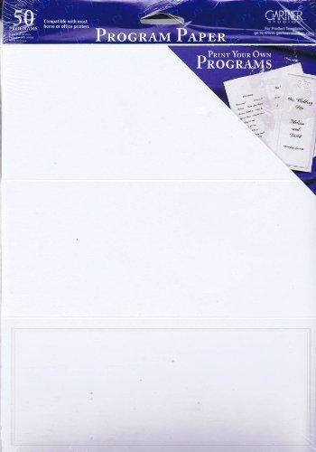Wht 50 Sheet - Gartner Studios Program Paper - Pearl White Border - 50 Sheets - Tri-Fold Program Paper -PRL BDR WHT