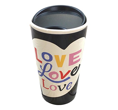 Starbucks Increase Wall Ceramic Traveler for Coffee or Tea - 12 Ounces …Black Heart Love