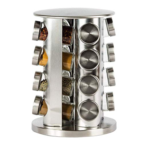 (XelparucTS Revolving Countertop Spice Rack Stainless Steel Seasoning Storage Organization,Spice Carousel Tower for Kitchen Set of 16 Jars)