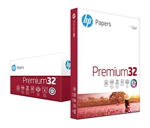 HP Printer Paper, Premium32, 8.5 x 11, Letter, 32 lb, 100 Bright, 1,500 Sheets/6 Pack Carton (113500C) Made In the USA (Hp Packard Hewlett Paper Laserjet)