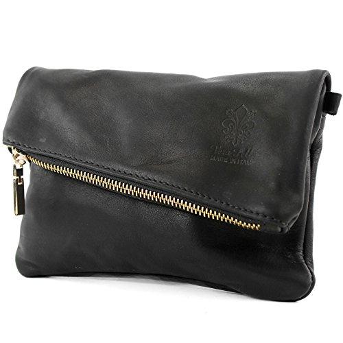 modamoda de - ital. Ledertasche klein Damentasche Umhängetasche Clutch Handgelenktasche Nappaleder T95, Präzise Farbe:Schwarz