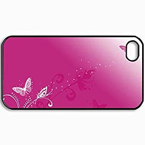 Personalized Protective Hardshell Back Hardcover For iPhone 4/4S, Butterfly Kisses Design In Black Case Color