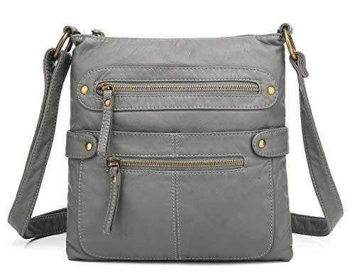 Scarleton Small Crossbody Shoulder Bag for Women, Ultra Soft Washed Vegan Leather, Grey, H182024 (Crossbody Purse Grey)