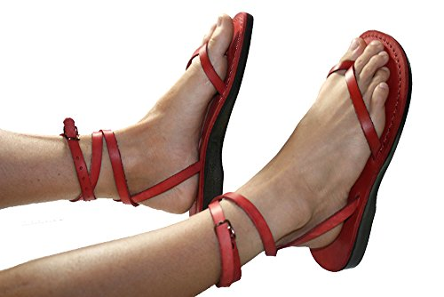 Red Ankle Strap Unisex Leather Sandals / Genuine Handmade Leather Holy Land Biblical Jesus Sandals (EURO  36)