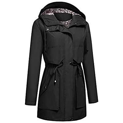 Kikibell Women's Raincoat Active Hooded Waterproof Lightweight Jackets with Lined Outdoor Travel Trench Coats: Clothing