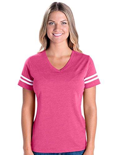 Heritage Jersey T-shirt - LAT Apparel Ladies Football Jersey V-Neck Tee [Medium] Hot Pink / White Short SleeveT-Shirt