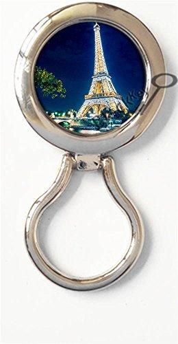 BlackKey Eiffel Tower Paris France Landscape Scenic Spot Magnetic Metal Eyeglass Badge Holder, Eye Glass Holding Brooch -227 ()