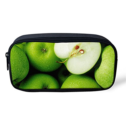 Showcool School Students Pencil Case Holder Cool 3D Apple fruit ching cyan Pattern Supplies Pen Bag Pouch Polyester cute for School Teens boys girls -