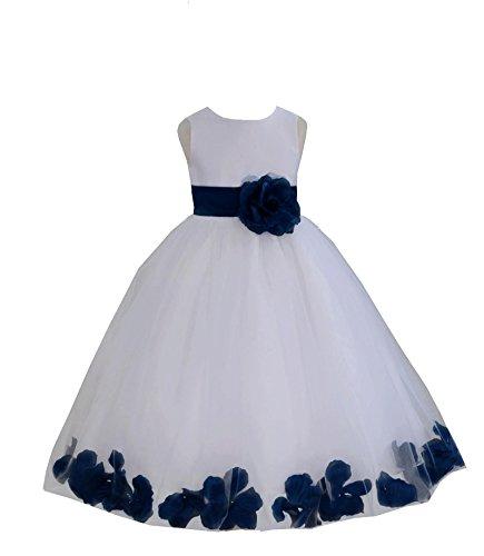 ekidsbridal White Floral Rose Petals Flower Girl Dress Birthday Girl Dress Junior Flower Girl Dresses 302s 8