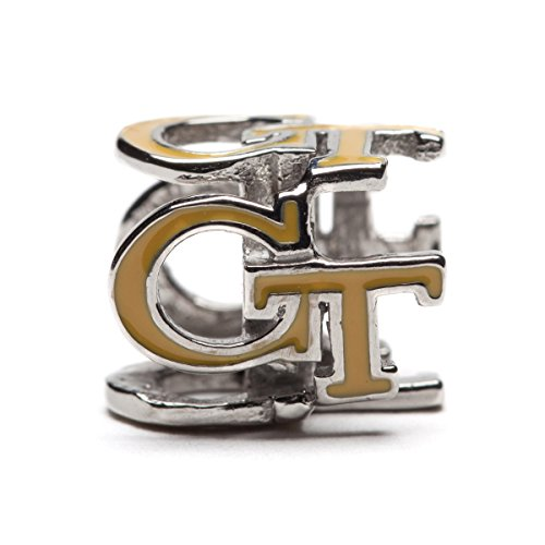 Georgia Tech Charm | GT Yellow Jackets - Gold Colored Block GT 4-Sided Charm | Officially Licensed Georgia Tech Jewelry | Georgia Tech Ramblin Wreck | GT Jewelry | GT Charms | Stainless Steel