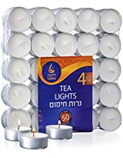 Unscented Tealight Candles | 4-Hour Long Burn Time, 50 Pack | Smokeless and Dripless White Tea Light Candles | Small Tea Candles for Home, Travel, Weddings, Shabbat, & Emergencies