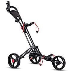"Product descriptionTangkula folding golf cart comes with strong aluminum frame and 3 EVA cover wheels. The construction is stable and will hold any size golf bag. The 10"" rear wheels will move smoothly in any type terrain. You can put your ph..."