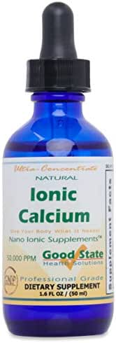 Good State | Natural Ionic Calcium | Liquid Concentrate | Nano Sized Mineral Technology | Professional Grade Dietary Supplement | Supports Healthy Bones, Tendons & Ligaments | 1.6 Fl oz Bottle (50 mL)