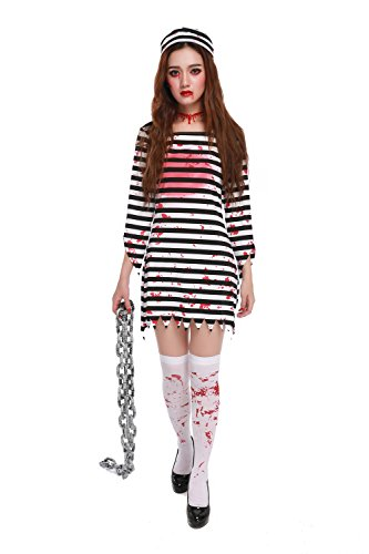 [GoLoveY Women's Striped Zombie Convict Prisoner Costume with Hat (X-Large)] (Robber Costumes)
