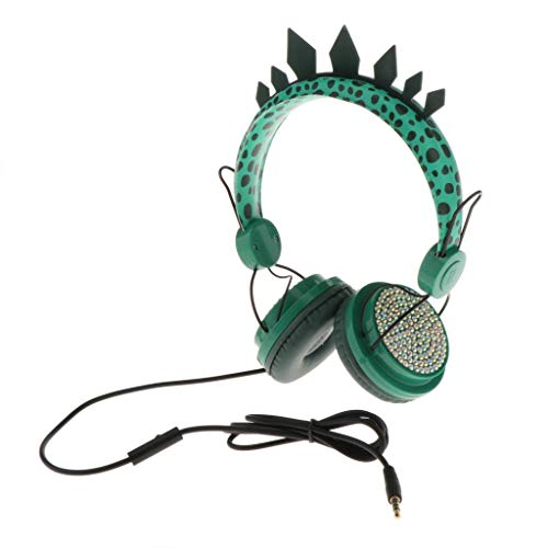 P Prettyia Cute Green Dinosaur Kids Headphones for Boys Gifts, Glitter Kids Headphones Over On Ear Headset Retractable…