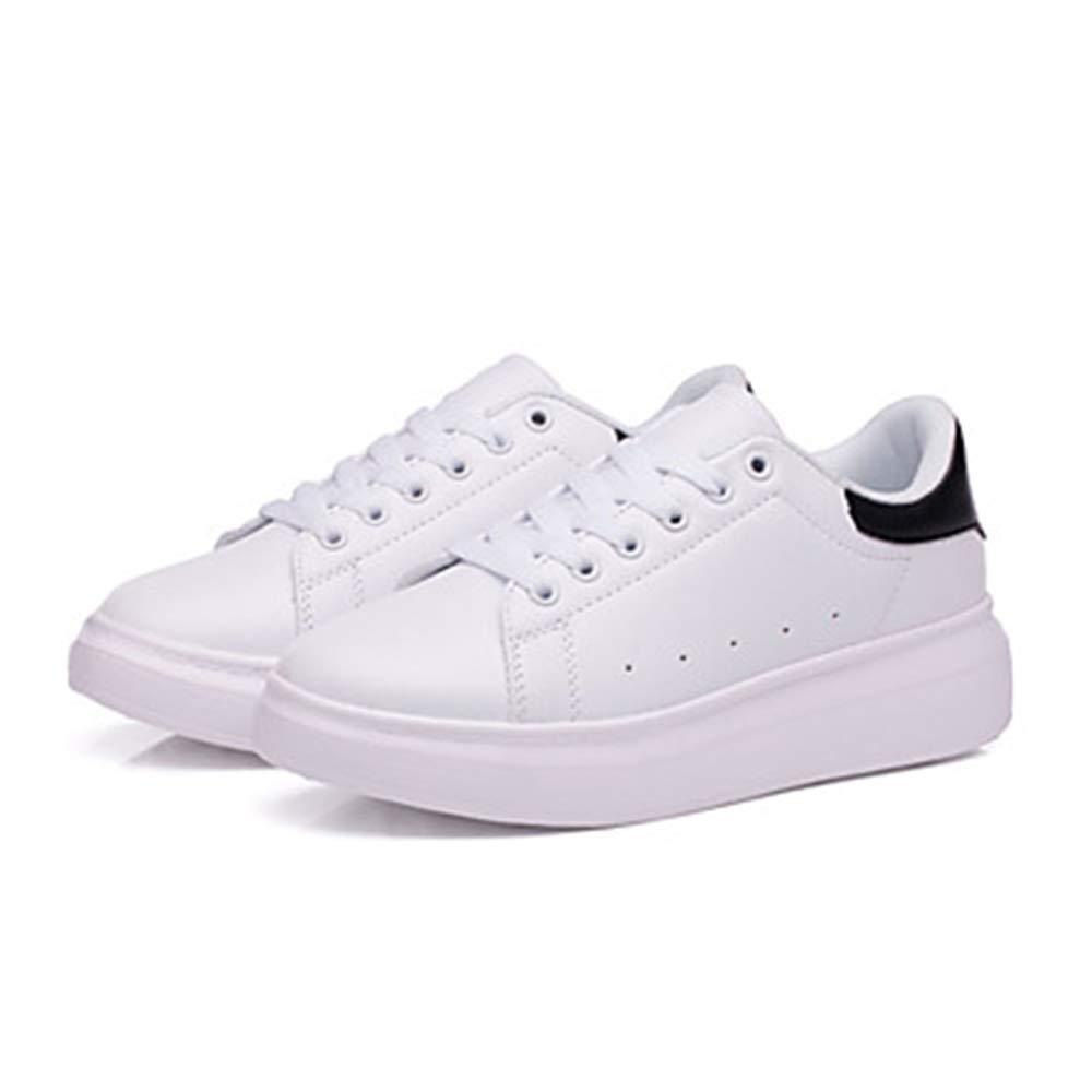 TTSchuhe Damen Schuhe PU Herbst Komfort Sneakers Flacher Runde Absatz Runde Flacher Zehe Schwarz/Schwarz / Weiss/Weiß und Grün Weiß 10b40e