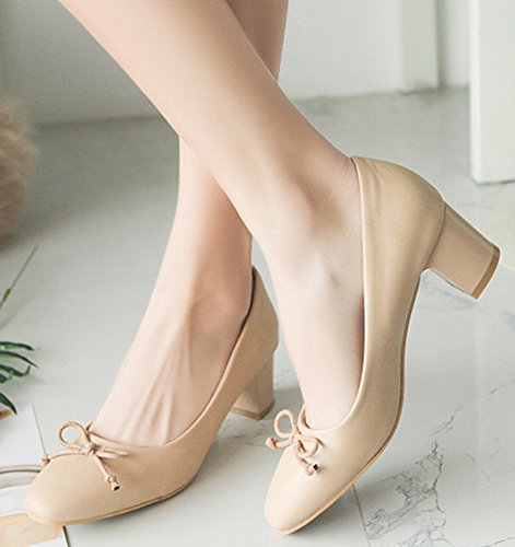 Idifu Mujeres Classic Closed Round Toe Low Top Slip On Pumps Mid Block Heels Zapatos De Oficina Con Moño Amarillo