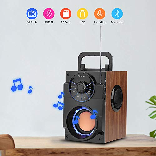 Shinco Portable Bluetooth Speaker with Rich Bass, FM Radio, USB TF Card, Remote Control, LED Light